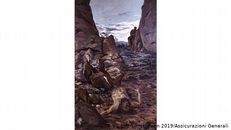 Ο Ντε Κίρικο αντλεί από τους ελληνικούς μύθους. Αυτός ο κένταυρος - μισός άντρας, μισός άλογο - είναι εξαντλημένος, τραυματισμένος, ανυπεράσπιστος. Λίμνες αίματος λάμπουν στο έδαφος και ψηλά απλώνεται ένας γαλάζιος ουρανός. Αφού εγκατέλειψε τις ακαδημαϊκές του σπουδές το 1908, ο Ντε Κίρικο ακολούθησε τον γερμανικό ύστερο ρομαντισμό στο Μόναχο αναζητώντας τον εσωτερικό του κόσμο.