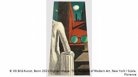 Αυτό το έργο είναι από την περίοδο του Ντε Κίρικο στο Παρίσι το 1912. Ο καλλιτέχνης συνδυάζει διαφορετικά πράγματα: γλυπτό, γυαλιά, ατμομηχανή, σημαίες που κυματίζουν στον αέρα. Πολλά είναι περίεργα: τα γυαλιά τεράστια, οι προοπτικές αλλόκοτες. Χωρίς αμφιβολία ο ζωγράφος δημιουργεί τη δική του μαγική πραγματικότητα. Με ένα κλικ του ποντικιού μπορείτε να επισκεφθείτε την έκθεση στο Αμβούργο.